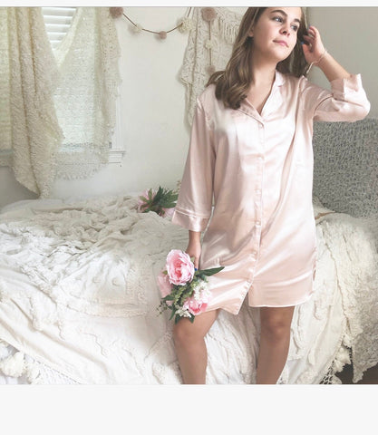 Bridal Nightshirt Satin Bridesmaid Party Pajamas - Shop On Eleven