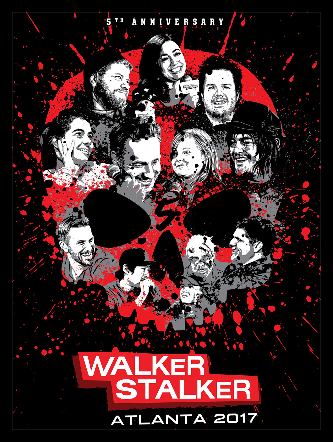 Walker Stalker Con Atlanta 2017 Screen Print Poster by Tracie Ching