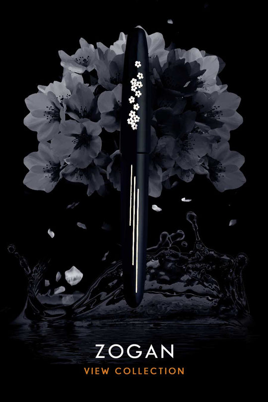 Layers of the mother of pearls are hand-cut and inlaid into the ebonite body of the Zogan fountain pen.