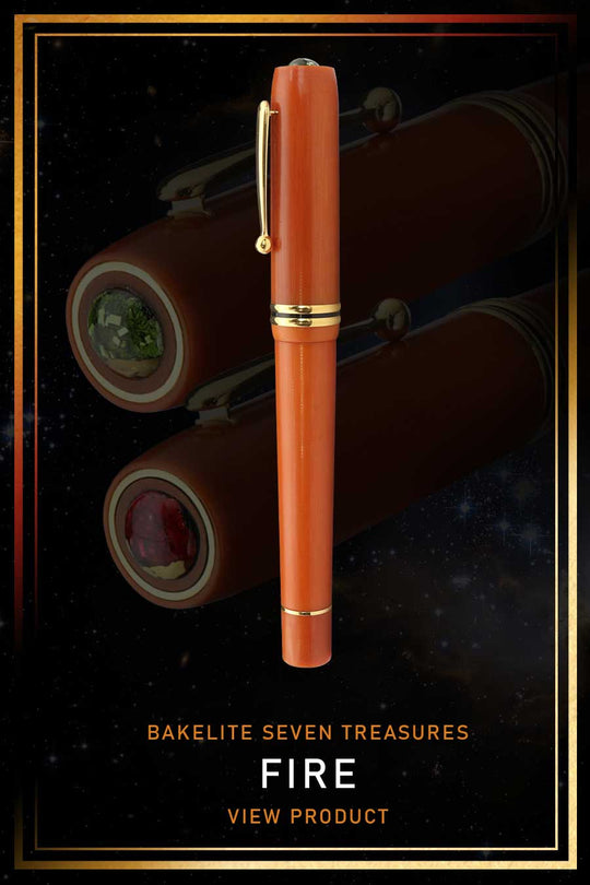 Seven Treasures is a vintage-inspired premium fountain pen made from high-quality bakelite with Japanese traditional Shippoyaki art