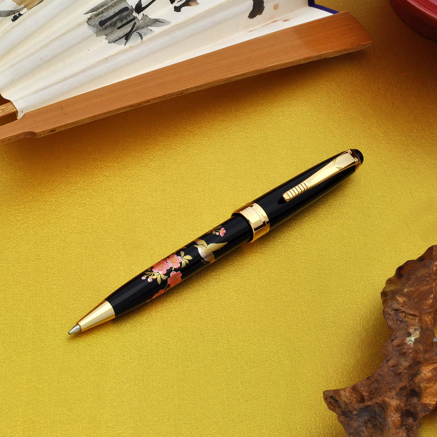 Wancher Oshita Makie Ballpoint Pen Bird & Flower