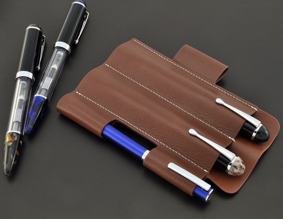 Penbrace 3 Pen Sleeve - Red Brown Pen Case - Wancher Pen