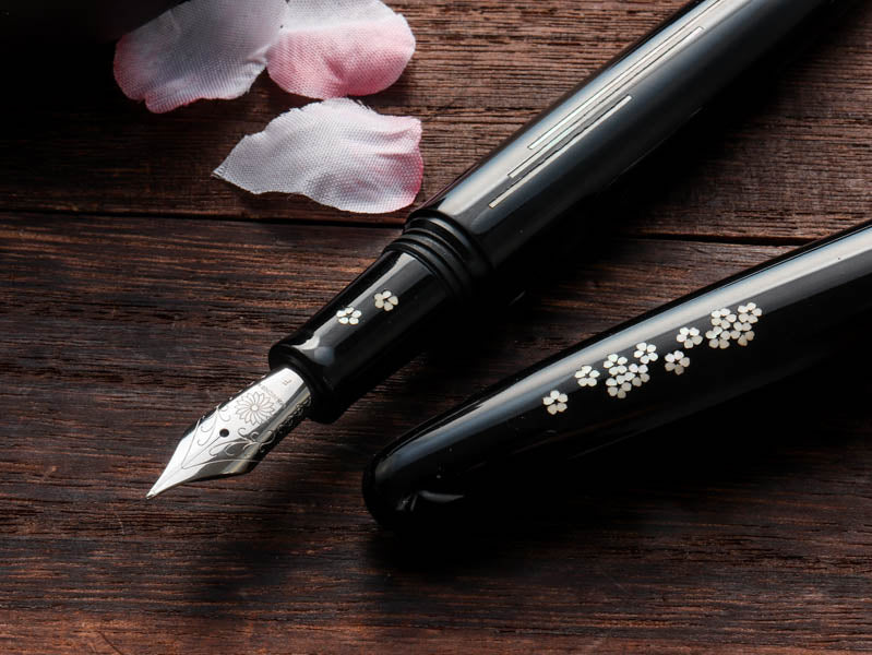 Zogan 桜の川 Sakura River - Urushi Black Fountain Pen - Wancher Pen