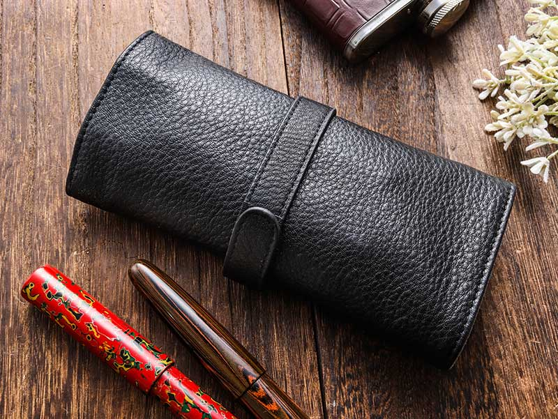 Penfolium 5 Pen Roll Case 1 - Black Pen Case - Wancher Pen