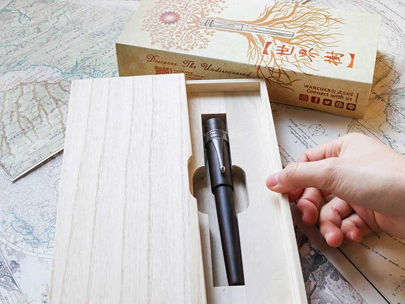 Wancher World Tree Ebony wood fountain pen in special wood box packaging.