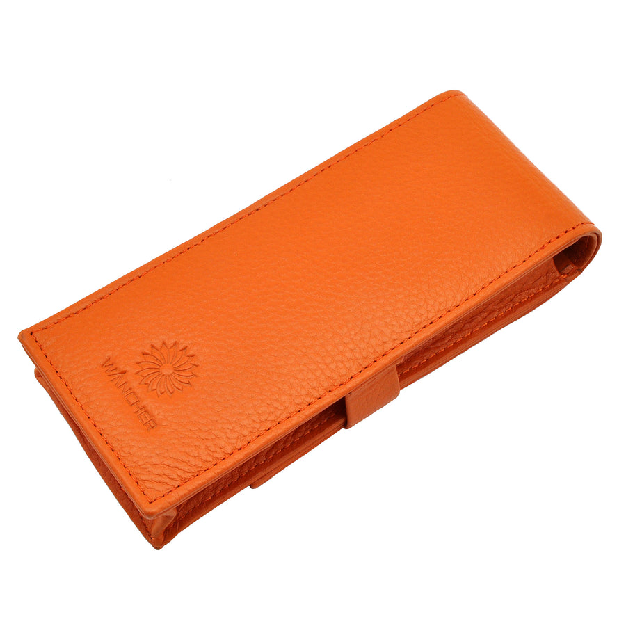 Wancher Leather Pen Case Penbrace 3 Pen Pouch Orange