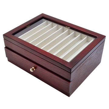 Wancher Pen Box Kabazai Wooden Urushi Pen Display Case 20 Pens