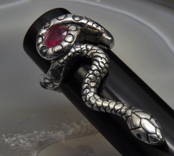 3ʳᵈ Eye Ruby Sterling Silver Snake