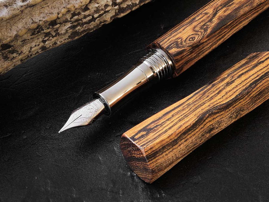 Hexagonal II - Golden Sandalwood Fountain Pen - Wancher Pen