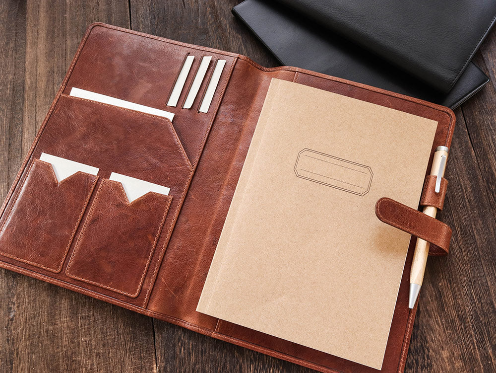 Leather Notebook Cover A5 - Classic  - Cognac Brown - Wancherpen International