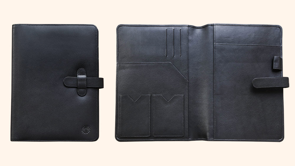 Leather Notebook Cover A5 - Classic - Black - Wancherpen International