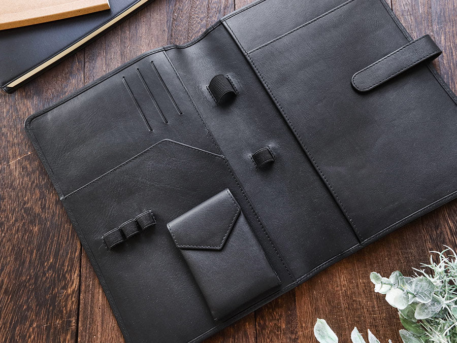 Leather Notebook Cover A5 - Compact - Black - Wancherpen International