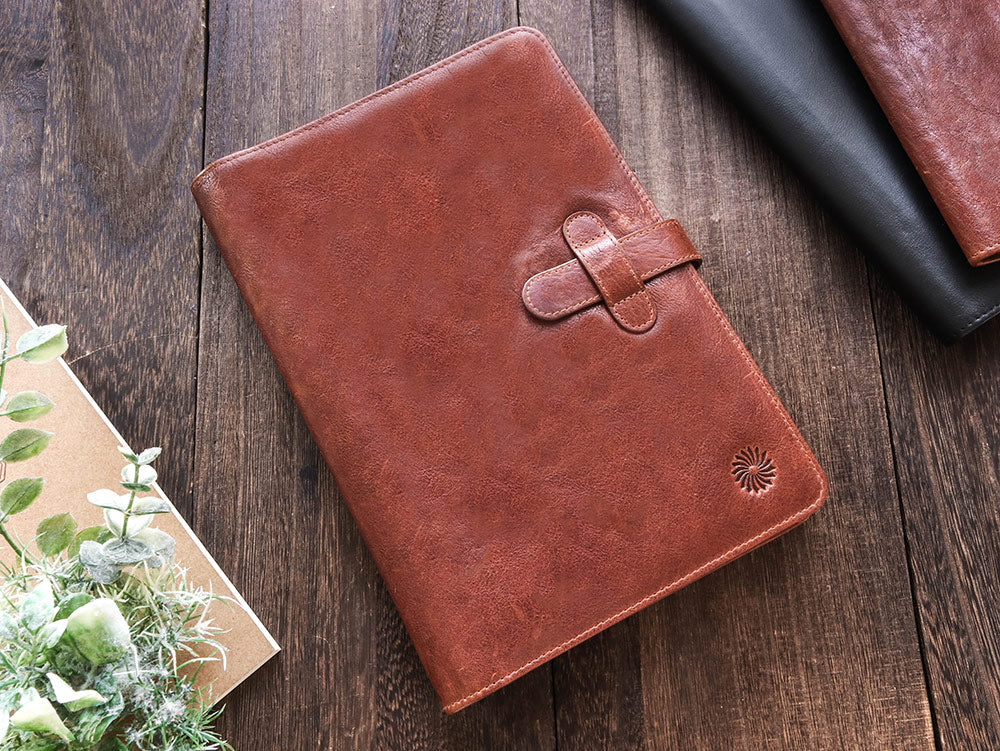 Leather Notebook Cover A5 - Compact - Cognac Brown - Wancherpen International