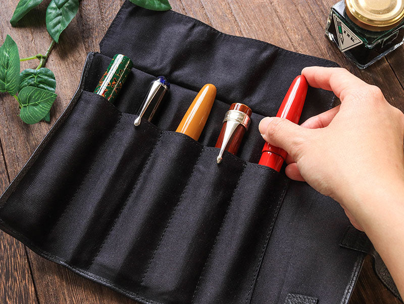 Penfolium 5 Pen Roll Case 2 - Black Pen Case - Wancher Pen