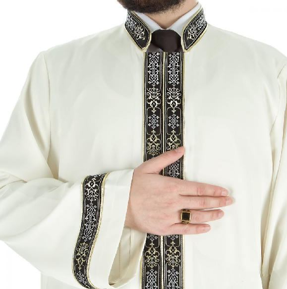 Asır Muslim Long Kurta XS, S M, L, XL  Islamic Mens Wear, Bordured Thobe, Galabiyya, Jubbah, islamic wear, Muslim Tunic, Cubbe - islamicbazaar