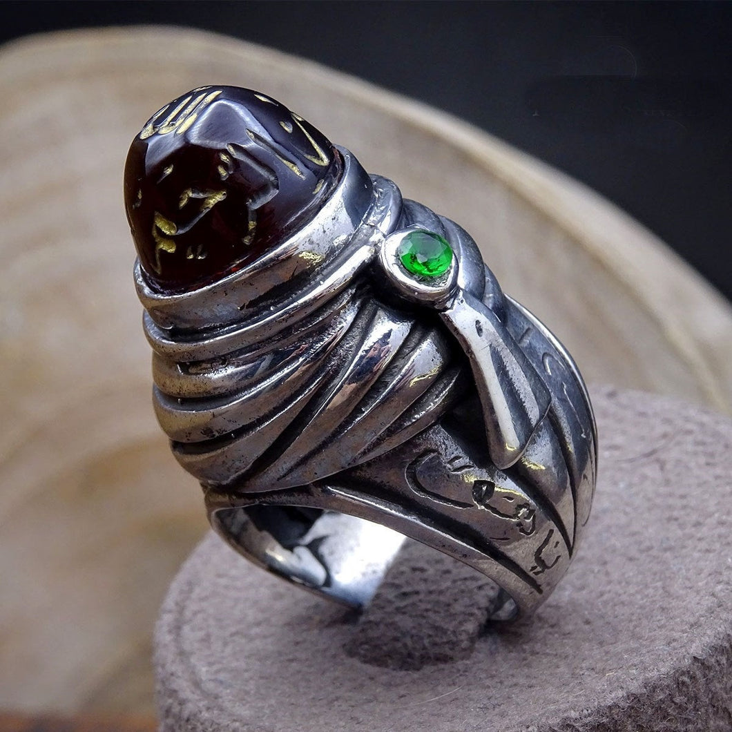 Handmade Dervish Silver Ring, Mens Signet Ring, Unique Fire Amber Ring, Mens Stacking Ring - islamicbazaar
