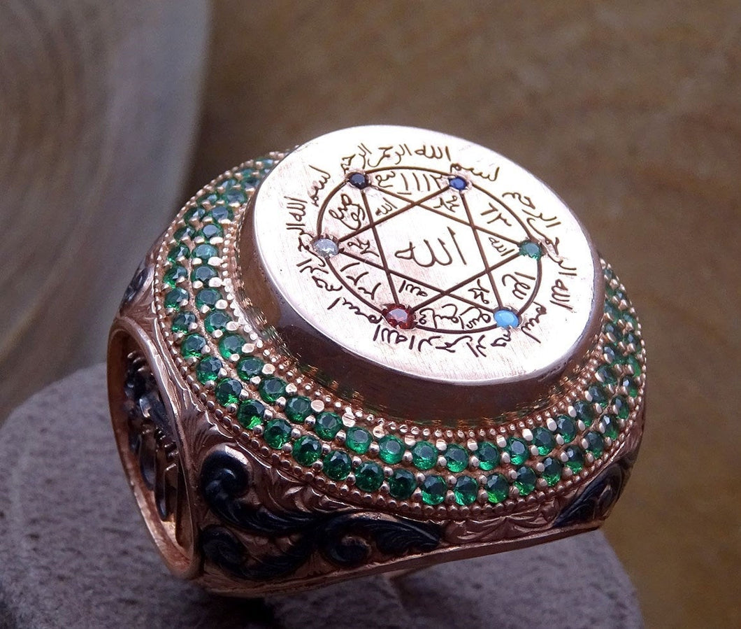 Stamp of the Hz Prophet Suleyman Sterling Silver Ring with Green Turquoise stones - Mens Silver ring - Sultanate Collection - islamicbazaar
