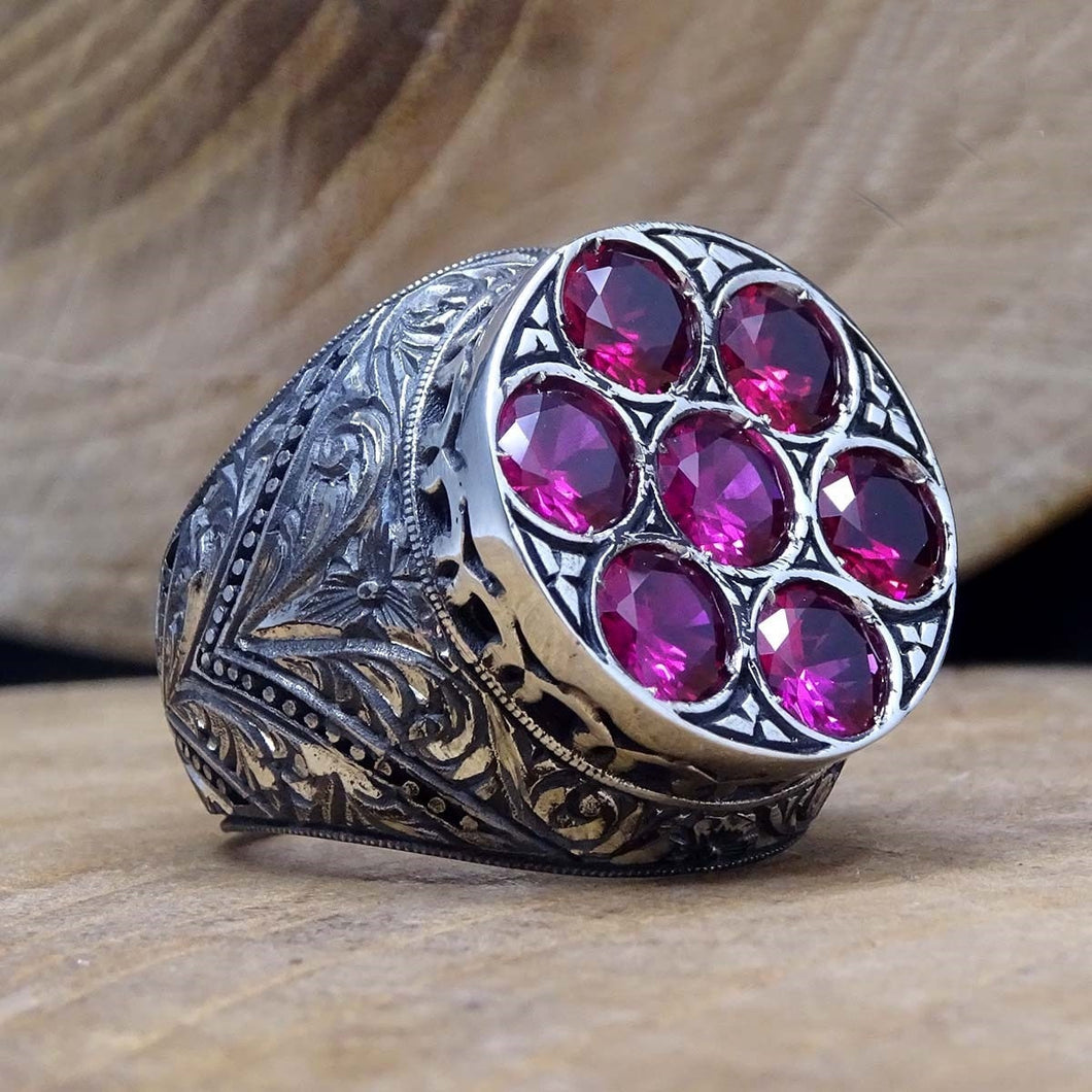 Penwork Art Sterling Silver Ring with Pink Semi Precious stones - Mens Silver ring - Faced Cut Round Mens Ring - Anniversary Gift - islamicbazaar