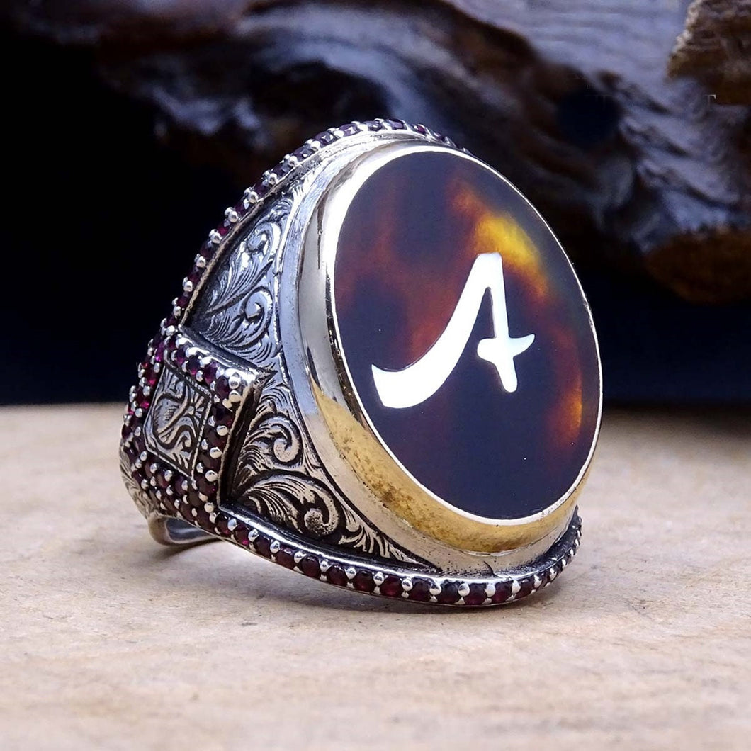 Handmade Mother of Pearl Inlay Ring / Ottoman Art Silver Ring / Sterling Silver Ring / Gift for Him / Custom Ring / Personalized Jewelry - islamicbazaar