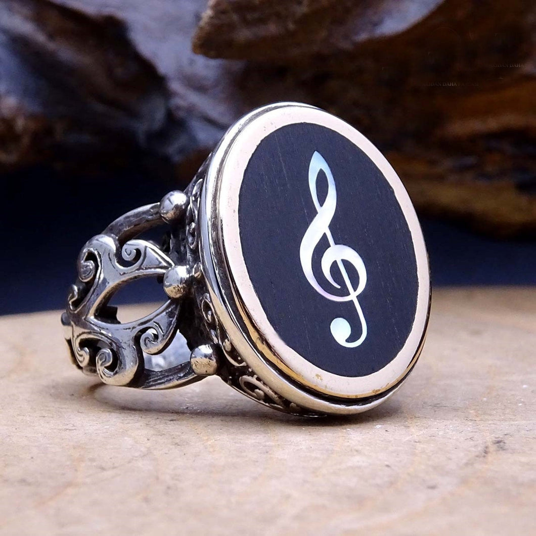 925 Silver Treble Clef Ring / Mother of Pearl Inlay Ring / Silver Sol Key Ring / Music Note Jewelry / Treble Clef Jewelry - islamicbazaar