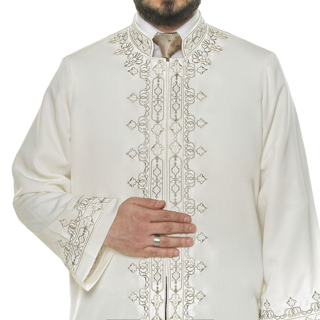 Tawheed Cream Muslim Long Kurta  S M, L, XL Islamic Mens Wear, Bordured Thobe, Galabiyya, Jubbah - islamicbazaar