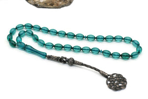 925 Silver Kazaz Imame Amber Tasbih With 925 Sterling Silver Tassel, Misbaha, 33 Pcs Prayer Beads - islamicbazaar