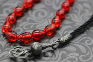 Fire Red Amber Tasbih With 925 Sterling Silver Tassel, Misbaha, 33 Pcs Prayer Beads - islamicbazaar