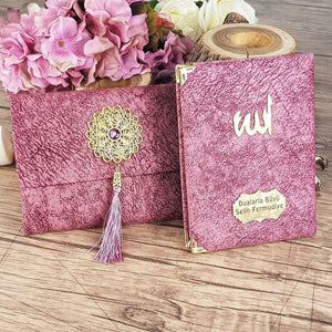 Velvet Yaseen Book Set, Yaseen Favors, Cover Bag and Prayer Beads Set, Hajj Mabrour, Quran Favors, Unique Islamic Gift Set MVD18 - islamicbazaar