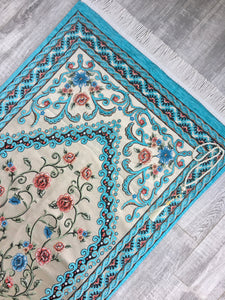 Blue Flowers Dowries Prayer Mat, Dowry Prayer Rug, Prayer Mat with Tasbeeh, Prayer Rug, Sajjada, Janamaz, Unique Islamic Gift YSLM12 - islamicbazaar