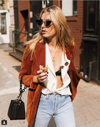 "Camille Charriere on Instagram  ""Not the best blouse for food baby days but hey YOLO  📸   levimandel"" Cat eye sunglasses"