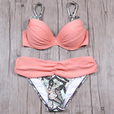 2 Piece Pink Floral Print Ruched Push Up Sexy Bikini Swimsuit - musthavesexy