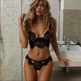 2 Piece Sexy Lace Bralette Bra Lingerie Set - musthavesexy