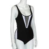 1 Piece Black White Cross Back Cutout Mesh Sexy Swimsuit - musthavesexy
