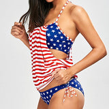 2 Piece Flag Printed Swimwear with Red Striped Push-Up Padded Bra - Be American & Patriotic - musthavesexy