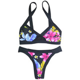 Dark I Love Floral Two Piece Bikini Set - musthavesexy