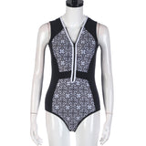 1 Piece Retro Print Zipper Swimsuit - musthavesexy