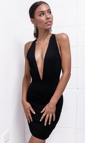 BLACK SLEEVELESS PLUNGE V NECK BACKLESS BODYCON MINI DRESS - musthavesexy