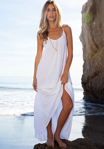 Women Sexy White Dress Sleeveless Backless Deep O-Neck Beach - musthavesexy