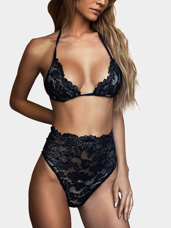 Black Delicate Sheer Lace See-through Lingerie Set - musthavesexy