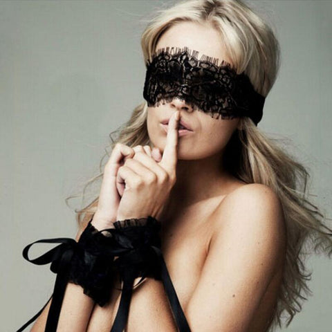 Black Lace Eye mask and cuff's Set - musthavesexy