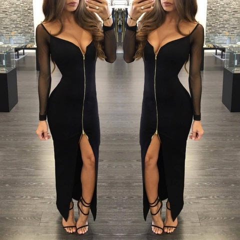 Black Sexy Deep V Zipper Front Backless Split Hem Dress - musthavesexy