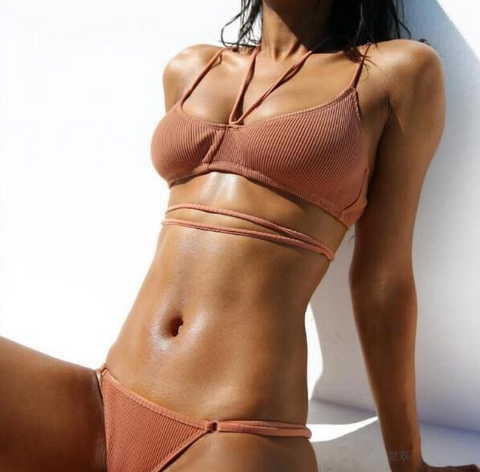 Coral Pink Scoop Neck Lace-up Design Bikini Set - musthavesexy