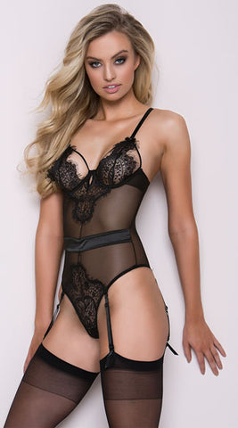 Eyelash Lace Teddy with Garters - musthavesexy