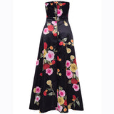 Floor-length Floral Black Dress - musthavesexy
