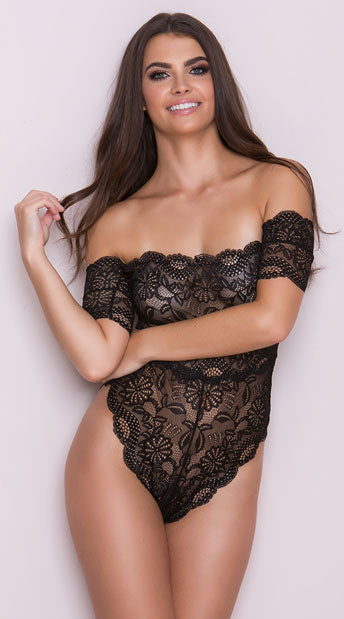Off-the-shoulder Lace Teddy - musthavesexy