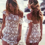 Crochet Floral Lace Off Shoulder Cover Up Dress - White - musthavesexy