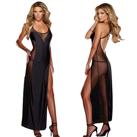 Sexy Black Halter Long Nightdress PLUS - musthavesexy
