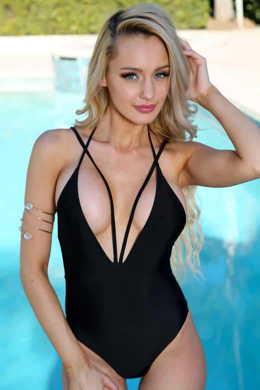 Sexy Black Plunging Neckline V-strap Monokini - musthavesexy
