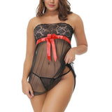 Sexy Babydoll Lace with Red Bow Tie Front PLUS - musthavesexy