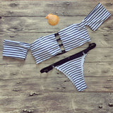 Striped High Cut Off Shoulder Bikini Set - musthavesexy